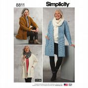 8811 Simplicity Pattern: Ladies' Knit Sweater, Scarf and Headband